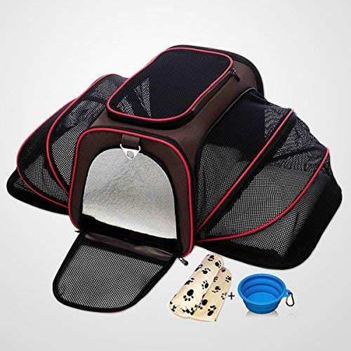 Oh My Pet Transporttasche für Hund und Katze mit ausklappbaren Seitenteilen, Faltbare Transporttasche und atmungsaktive Transportbox Auto