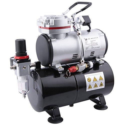 Original Fengda FD-189 - Professionale Compressore Aerografo per modellismo con cassa d'aria / pressostato / 3L / 6 bar / Auto Arresto