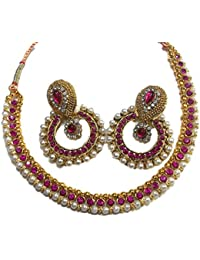 Shree Mauli Creation Dark Pink Alloy With Pearl Choker Necklace Set For Women SMCN962