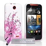 Yousave Accessories Cover Per HTC Desire 310 Custodia Bianco/Rosa Floreale in Silicone Gel Con Mini Stilo