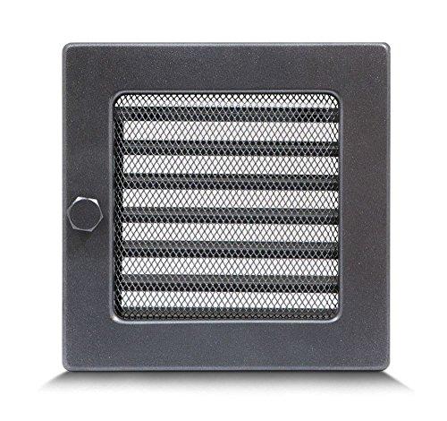17 x 17cm Griglia di ventilazione GRIGLIA DI AERAZIONE grata da camino Regoilable - acciaio inossidabile - GRAFITE /