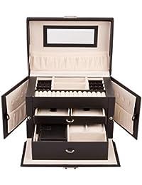 TRESKO® Caja para joyas joyero caja de joyas organizador de joyas, caja de relojes caja para relojes, con mini joyero para el bolso de mano, para el viaje, negro, con 17 compartimentos