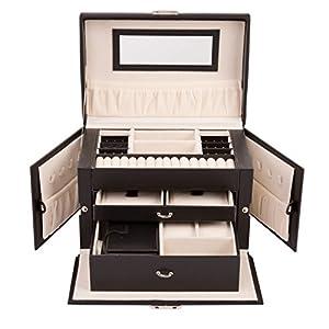 TRESKO Schmuckkästchen Schmuckkoffer | abschließbar | 3 Ebenen mit 2 Schubladen | Spiegel | Mini-Box