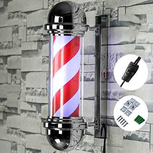 GYL SALON POLE 20'' LED Poste de barbero,Barbería Luces giratorias Peluquería LED Luces de Pared Impermeables al Aire Libre Barberos Luces de Letrero
