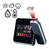 Wybtbm - Sveglia con proiezione e visualizzazione della temperatura, igrometro, temperatura interna, sveglia, ora e data, schermo LCD a colori da 9,27 cm