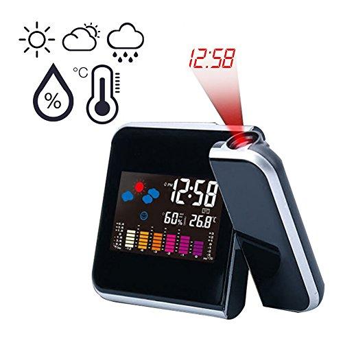 Projektionswecker / Goodshop Projektionswecker mit Temperaturanzeige | Hygrometer / Innentemperatur / Wecker / Uhrzeit- und Datumsanzeige | 9,27 cm LCD-Farb-Displaybeleuchtung / LED-Backlight / Snooze