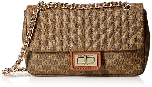 Karl Lagerfeld Paris Damen Agyness Signature Shoulder Bag Umhängetasche, Brown/Khaki, Einheitsgröße