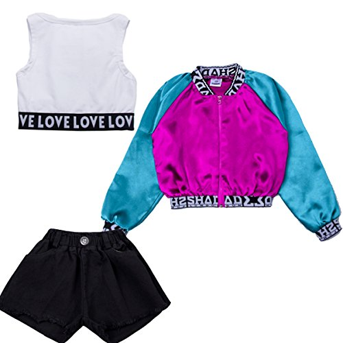 VoleseniTM Mädchen Kinder Modern Jazz Hip-Hop Dancewear Kids Dance Paty Coat Kostüme Sets, 160 ()