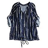 BHYDRY Frauen Casual Striped Kordelzug Schnüren Langarm Bluse Top Shirt Tee(M.Blau)