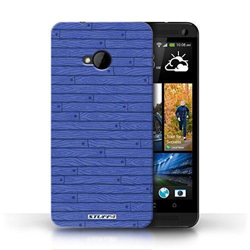 Kobalt® Imprimé Etui / Coque pour HTC One/1 M7 / Rouge conception / Série Motif Bois Bleu