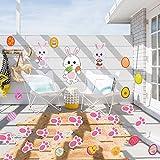 Sayala 39Stickers en Mousse d'œuf de Pâques Assortis,Lapin de Pâques Stickers Muraux Lapin Porte Stickers Fenêtre Amovible Clings pour Pâques Décoration