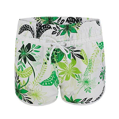 Donna Pantaloni Estivo I Pantaloncini Da Bagno Donna Motivo Floreale Spiaggia Tavola Da Surf Verde