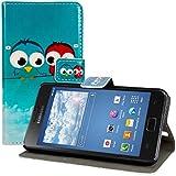 kwmobile Funda chic de cuero sintético para el Samsung Galaxy S2 S2 PLUS con una práctica función de soporte - ¡Diseño pájaro comic en azul rojo azul claro!