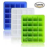 Joyoldelf 3er Pack Eiswürfelform für 20 Eiswürfel, 2.5x2.5 cm Eiswürfel,zum Erstellen perfekter für ihre Getränke (Blau, Weiß & Grün)
