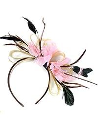Tocado para cabello de plumas de oro y bebé rosa neta Hoop Diadema boda Royal Ascot de carreras