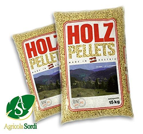 Holz pellets austriaco sacco da 15kg abete bianco certifico en plus a1