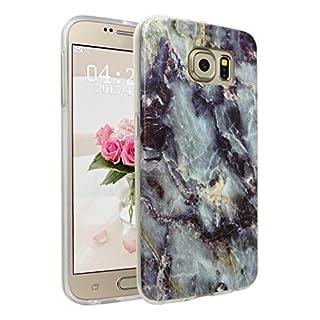 Handyhülle für Samsung Galaxy S6, Asnlove Ultra Dünn TPU Silikon Hülle Case Cover Marmor Motiv mit IMD Schale Backcover Tasche Schutzhülle für Samsung Galaxy S6 G920F, Blau Braun
