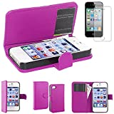 ebestStar - Etui iPhone 4S, 4 - Housse Coque Etui Portefeuille Support PU Cuir, Couleur Violet [Dimensions PRECISES de votre appareil : 115.2 x 58.6 x 9.3 mm, écran 3.5'']