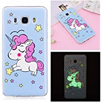 Coque Galaxy J7 2016, Coque Samsung Galaxy J7 2016, Anlike Série Glow Etui Silicone Gel / Protection Full Silicone Souple Ultra Mince Fine Slim Transparente Souple Coque De Protection Pour Samsung Galaxy J7 2016 /SM-J710 (5,5 Zoll) - Licorne bleue