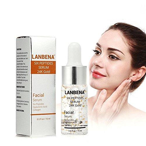 Peptide Serum für Gesicht mit Hyaluronsäure Kollagen Sechs Peptide 24K Gold Anti Aging Essenz