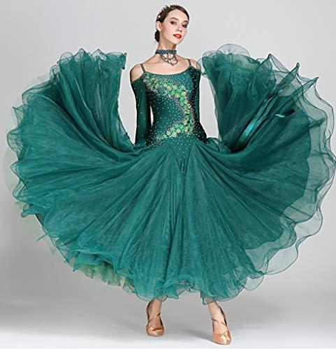 Z&X Women Es Modern Ballroom Dance Kostüm Sling Professional Set Spandex Lycra/Hochdichte Garn Dunkelgrün,S (Lycra Dance Kostüm)