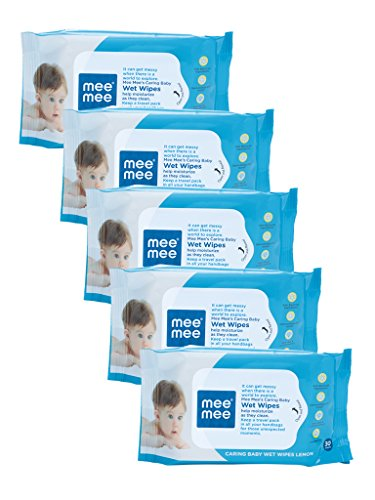 Mee Mee Caring Baby Wet Wipes with Lemon Fragrance - 30 pcs (Pack of 5)  available at amazon for Rs.245