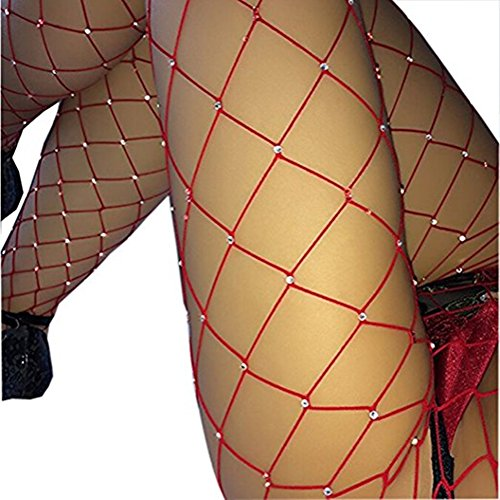 Ruiying Frauen hohe Taille eng Sparkle Strass Strümpfe Netzstrumpfhose (Rot) (Sparkle Elasthan)