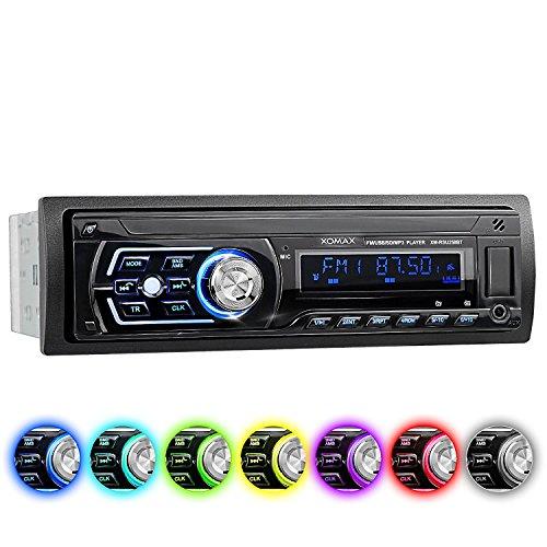 XOMAX XM-RSU258BT Autoradio no hay unidad de CD DIN 1 (single DIN) Tamaño de montaje estándar + MOSFET 4x60 vatios + AUX-IN + 7 ajustables colores de iluminación: azul, rojo, verde... + WMA + MP3 + USB y SD (128 GB por Medio) + Bluetooth manos libres y música + Protección contra robo (con Funda protectora) + ISO + antena de radio
