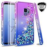 LeYi Custodia Galaxy S9 Glitter Case con Full Cover Curved 3D Pet Pellicola [2 Pack],Brillantini Diamond Silicone Sabbie Mobili Bumper per Custodie Samsung Galaxy S9 ZX Purple Blue Gradient