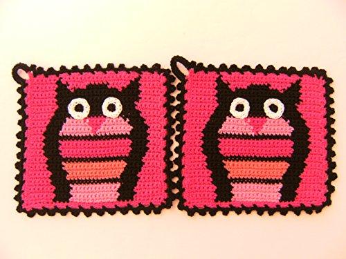 Storchenlädchen 1 Paar Topflappen Eule, rosa, gehäkelt Handarbeit Vogel Vögel Waldtier Eulen