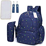 #7: Motherly Stylish Babies Diaper Bags for Mothers with 1 Bottle Bag + 1 Diaper Changing Mat + 1 Set of Stroller Hooks (Blue,Flower)