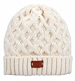 Aran Traditions Cream White Cable Knit Design Beanie hat