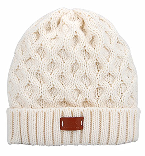 Aran Traditions Cream White Cable Knit Design Beanie Hat - Cream Cable Knit
