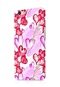 Cover Affair Hearts Printed Designer Slim Light Weight Back Cover Case for Oppo F1s (Pink & White & Red)