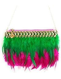 Iios, Exclusive Exquisite Green & Pink Feathers Handbag