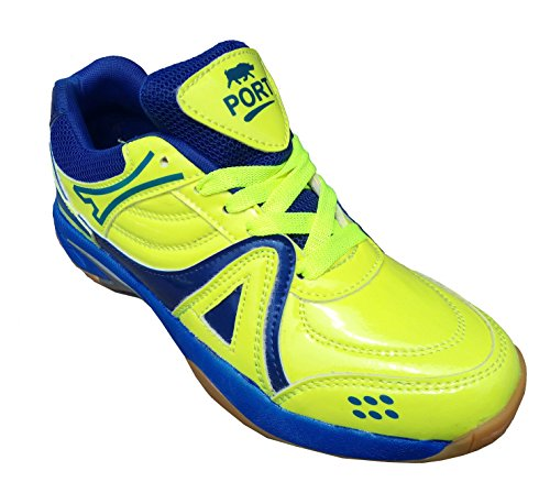 Port Men's Green Revolve-Active Sports Badminton Shoe For Men, Boys, Women, Girls & Junior Upper PU Material Non Marking Sole Outdoor Indoor Playing - Best in Badminton & Other Games Basketball, Volleyball, Running, Gymnastic, Jogging, Walking & Weight Lifting Sports Shoe (7 Ind/Uk)