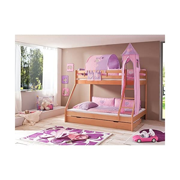 Relita Mike Bunk Bed with Bed Drawers and 3Pieces textils. Purple/Pink, Natural Solid Beech Lacquered Wood Relita Width approx in cm: 155 Length approx. in cm: 210 Height approx. in cm: 160 1