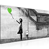 Bilder Banksy - Ballon Girl Street Art Wandbild Vlies - Leinwand Bild XXL Format Wandbilder Wohnzimmer Wohnung Deko Kunstdrucke Grün Grau 1 Teilig - MADE IN GERMANY - Fertig zum Aufhängen 301612b