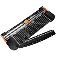 MoKo A4 Paper Cutter, 12 Inch Guillotine Photos Trimmer Scrapbooking Tool with Automatic Security Safeguard and Side Ruler for Office Paper, Coupon, Label and Cardstock - Black