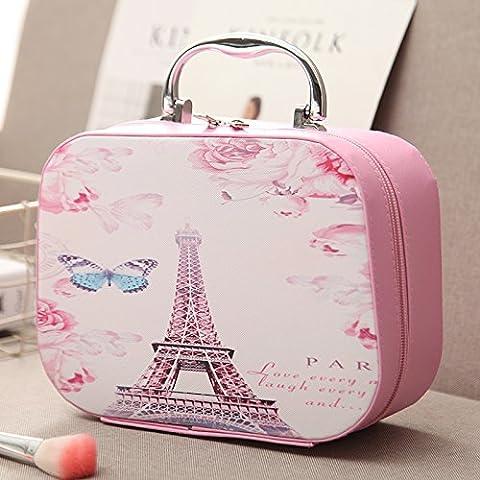 Le nouveau sac de maquillage cosmétique main fort grande capacité d'admission des cosmétiques de la taille de paquet paquet de vanité voyage portables ,grande,tour rose