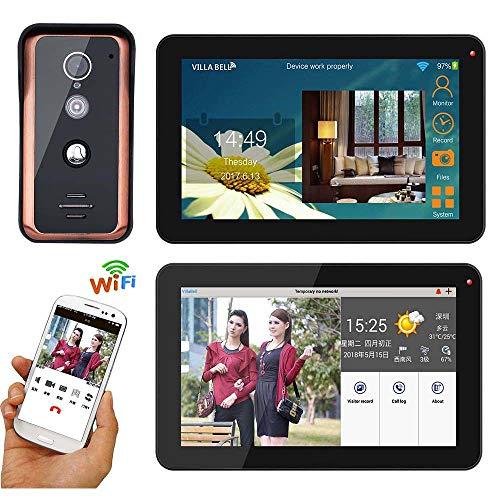 XH&XH 9-Zoll Wired WiFi Bildtelefon Türklingel Intercom Home Security Zugangskontrollsystem Nachtsicht wasserdichte Kamera Überwachung Unterstützung Remote APP Intercom Entsperren Aufnahme Snapshot -