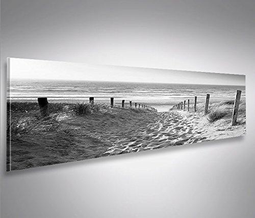 Bild Bilder auf Leinwand Weg zum Meer Schwarz/Weiss Nordseestrand Panorama XXL Poster Leinwandbild Wandbild Dekoartikel Wohnzimmer Marke islandburner (Bild Weg)