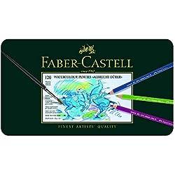 Faber-Castell 117511 - Estuche de metal con 120 lápices de colores acuarelables, multicolor