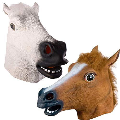 C αγάπη Ζ Pferdemaske für Halloween Maske Latex Tiermaske Erwachsene Pferdekopf Pferd Kostüm für Weihnachten Party - Weihnachten Kostüm Für Pferde