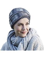 Turbante de invierno de algodón punto Eira color gris ocuro compuesto de gorro y banda para mujeres con alopecia