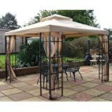 BUCKINGHAM METAL FRAMED LUXURY GAZEBO BEIGE CANOPY 3m x 3m Includes mosquito net side curtains