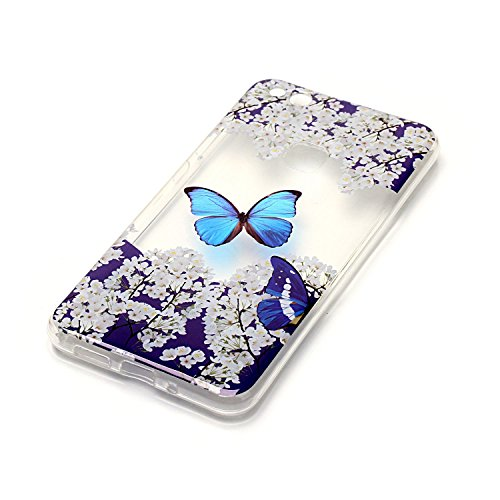Huawei P10 Lite Custodia, Cover Huawei P10 Lite in Silicone TPU Transparente, JAWSEU Creativo Disegno Super Sottile Cristallo Chiaro Custodia per Huawei P10 Lite Corpeture Case Antiurto Anti-scratch S Farfalla Blu Fiore