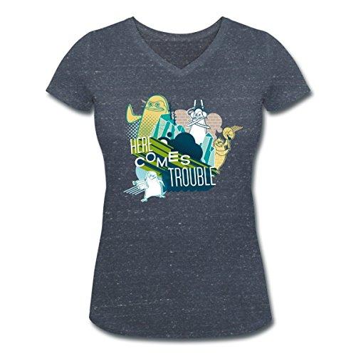 DreamWorks Les Pingouins De Madagascar Trouble T-shirt col V Femme de Spreadshirt® marine chiné