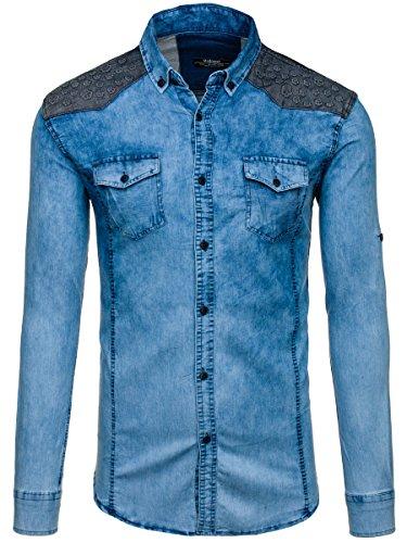 BOLF Herren Jeanshemd Freizeithemd Herrenhemd Denim Casual Jeans Mix 2B2 Motiv Blau