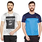 Masch Sports Mens Polyester Printed & Colourblocked T-Shirts - Pack of 2 (White,Azure Blue & Navy Blue)